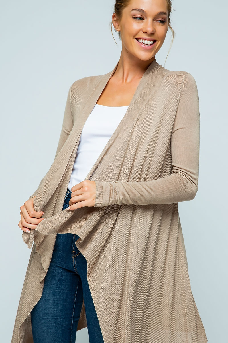 LIGHT KNIT DRAPED WATERFALL CARDIGAN - orangeshine.com