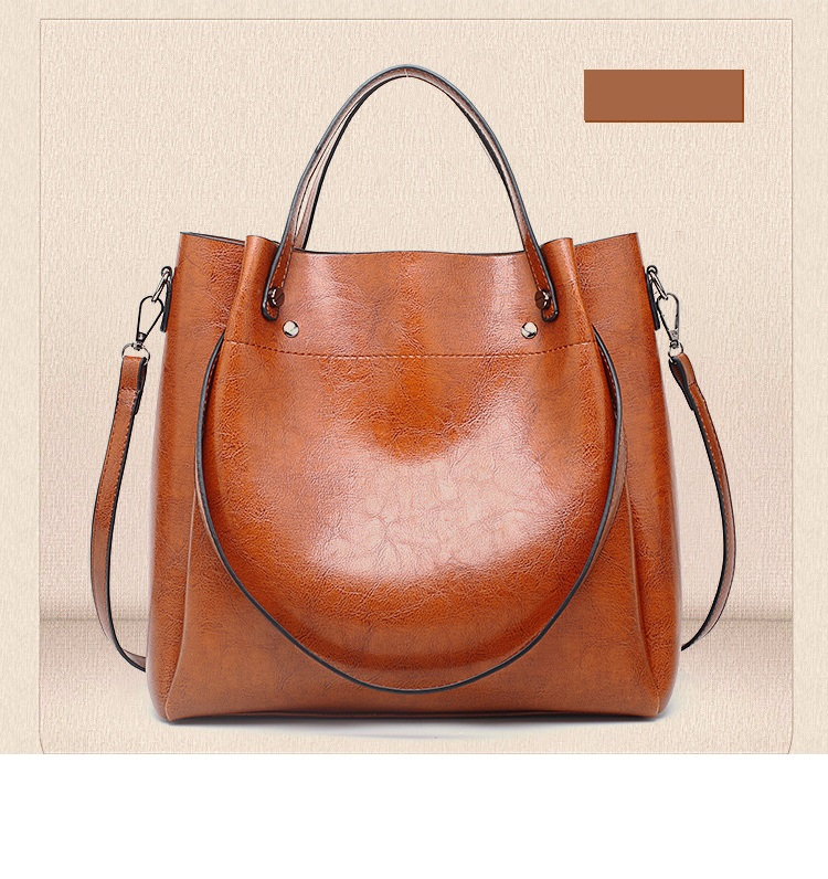 Oil wax leather handbag - orangeshine.com