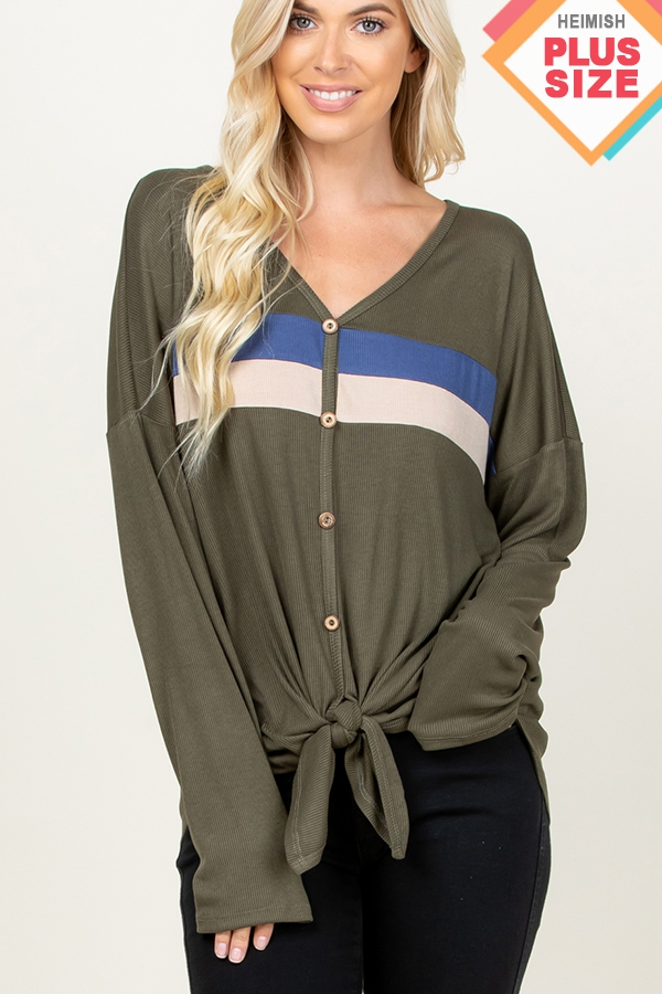 PLUS SOLID COLOR BLOCK TOP - orangeshine.com