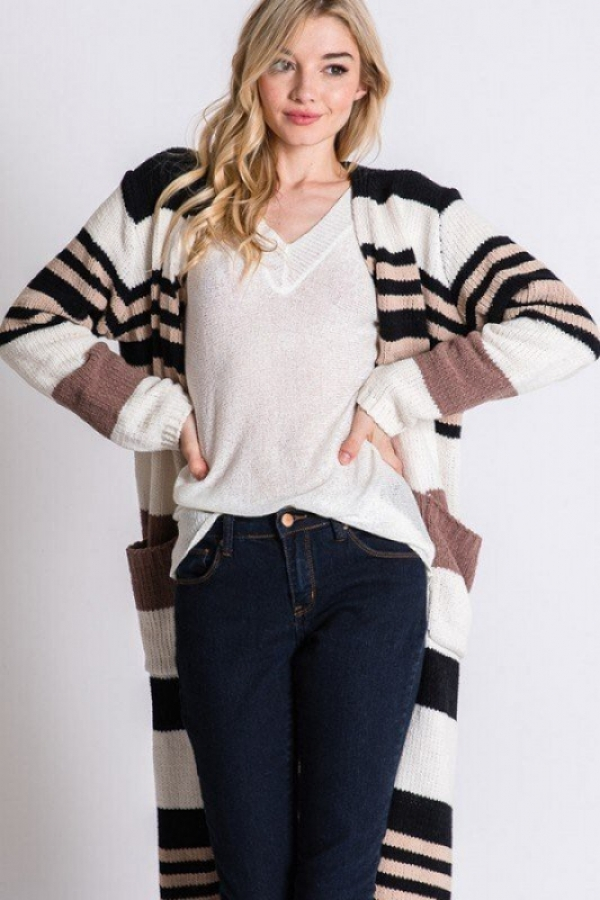 COLORBLOCK STRIPED MAXI CARDIGAN - orangeshine.com