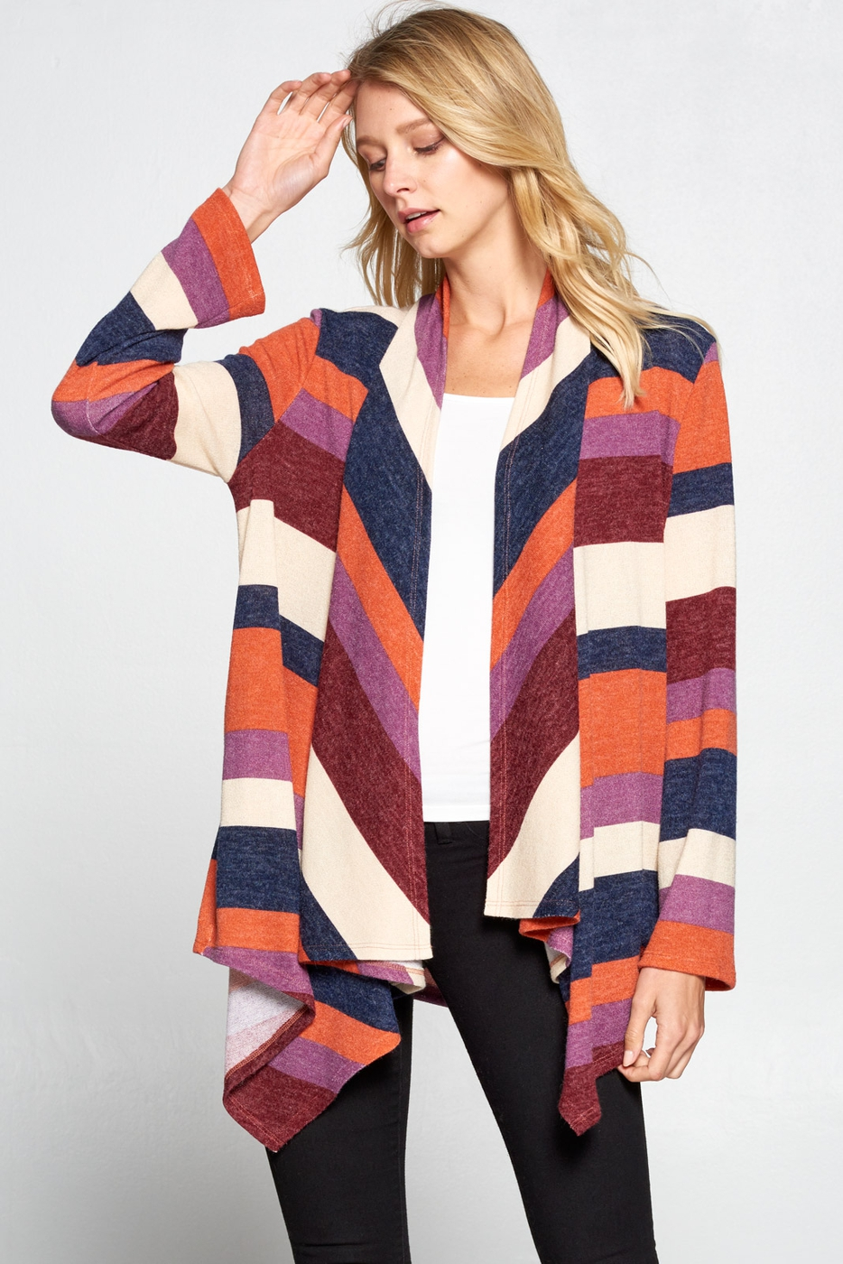 Multi Color Striped Cardigan - orangeshine.com