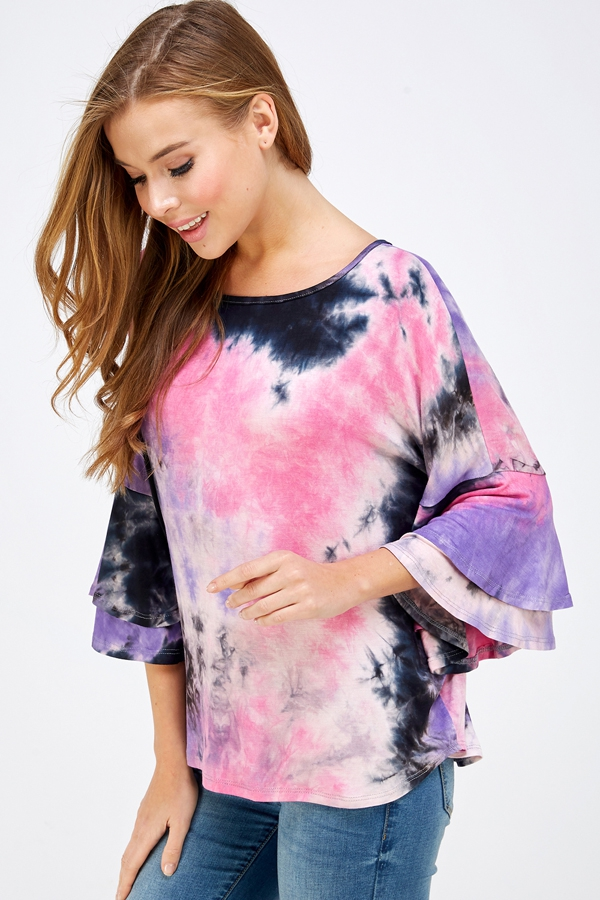 TIE DYE TIER RUFFLE SLEEVE TOP - orangeshine.com