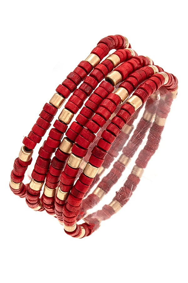 MULTI GOLD ACCENT BEAD BRACELET SET - orangeshine.com
