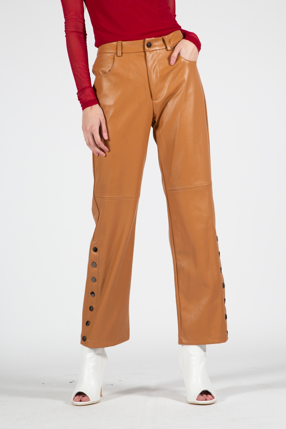 Long Leather Pants with Front Fly - orangeshine.com