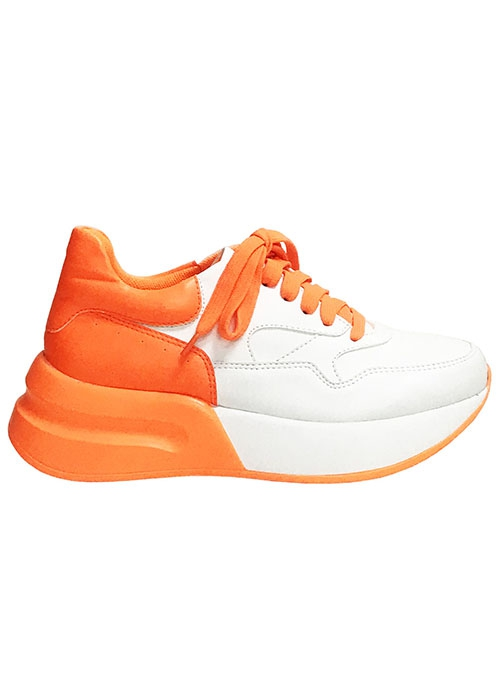 TWO TONE PU CASUAL SNEAKER WITH LACE - orangeshine.com