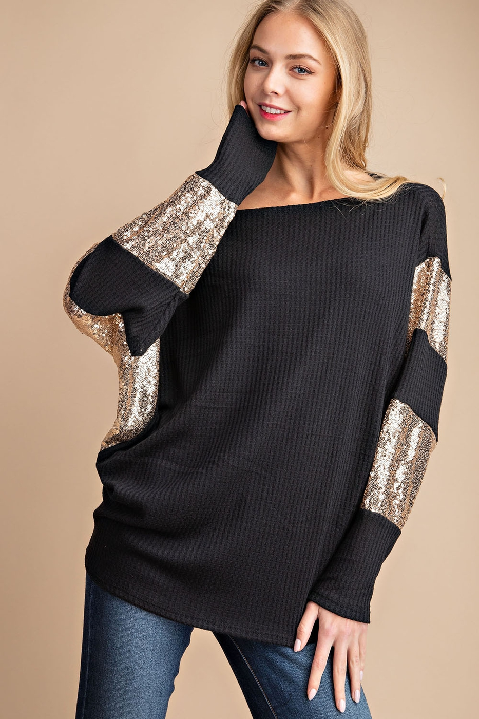 WAFFLE KNIT SEQUINS CONTRASTED TUNIC - orangeshine.com