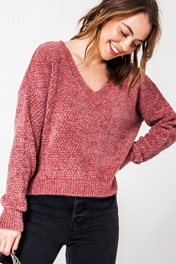 FUZZY CHENILLE V NECK DROP SHOULDER  - orangeshine.com