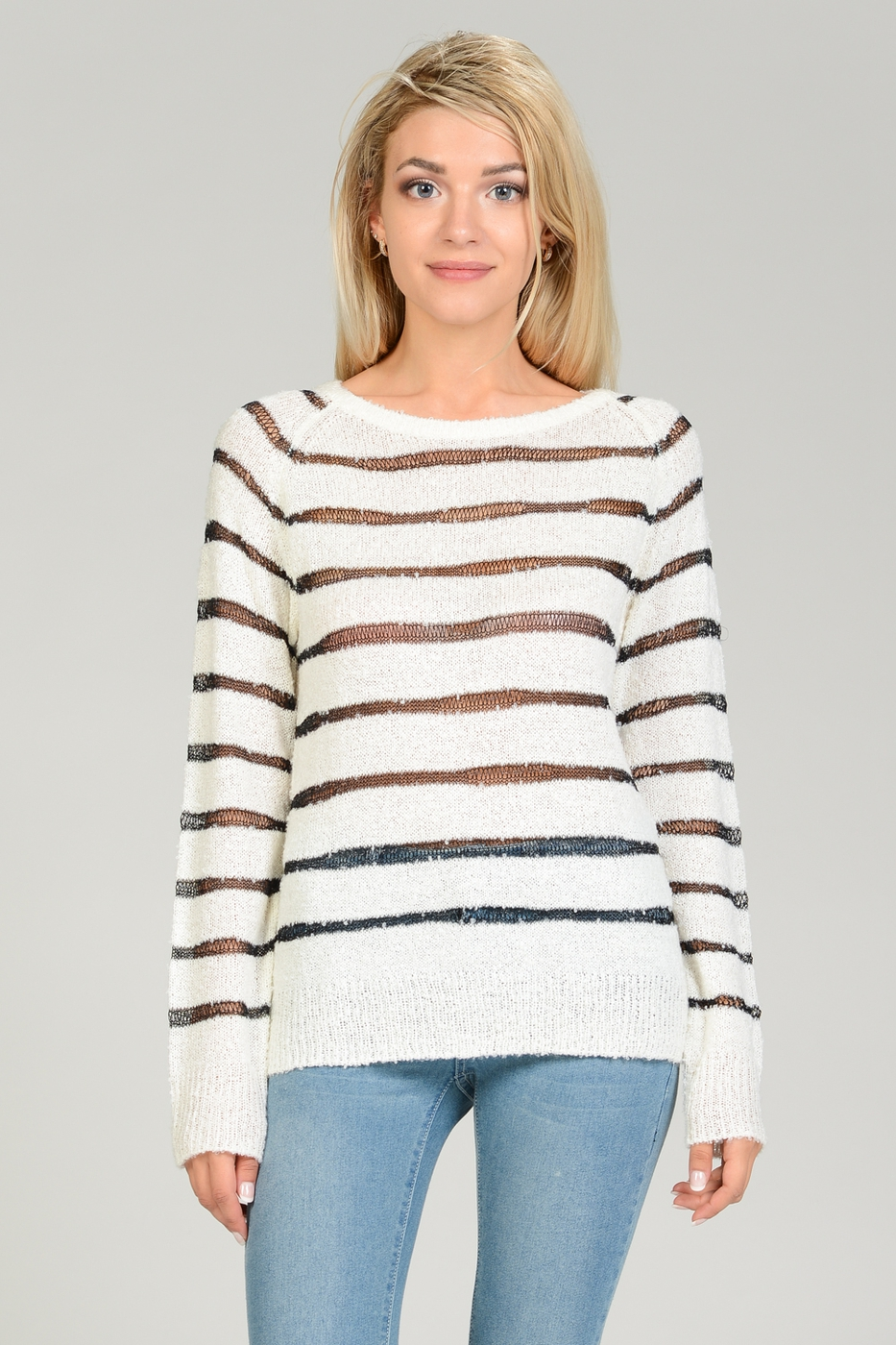 Metallic yarn Striped Pullover - orangeshine.com