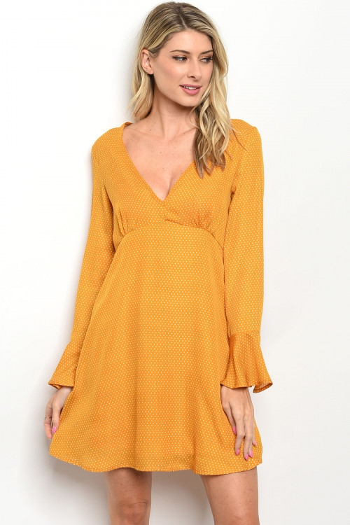 Long sleeve V-neck babydoll DRESS - orangeshine.com