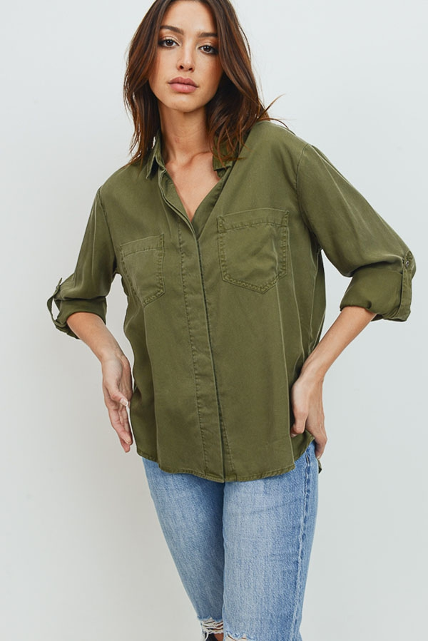 Color Tencel Shirt - orangeshine.com