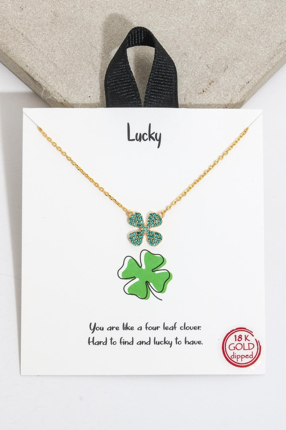 Gold Dip Lucky Clover Charm Necklace - orangeshine.com