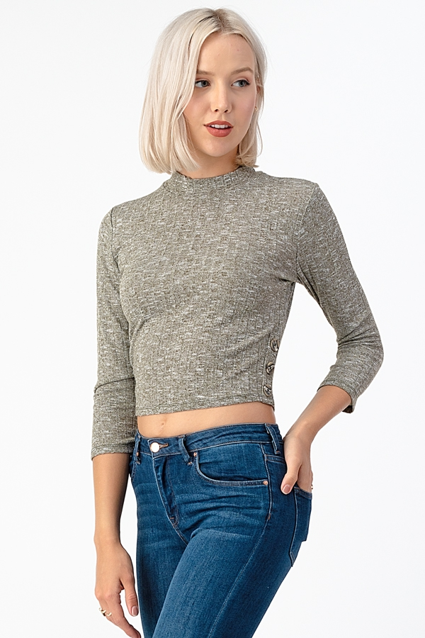 HACCI 9X4 RIB MOCK NECK TOP - orangeshine.com