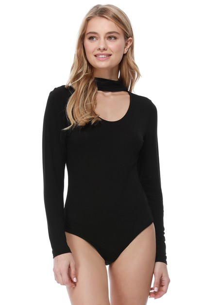 Ribbed Cutout Bodysuit - orangeshine.com