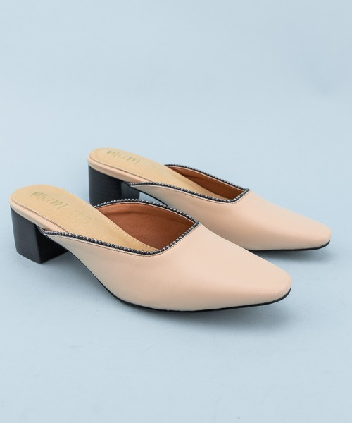 Rounded Toe Flat Dress Mule Sandals - orangeshine.com