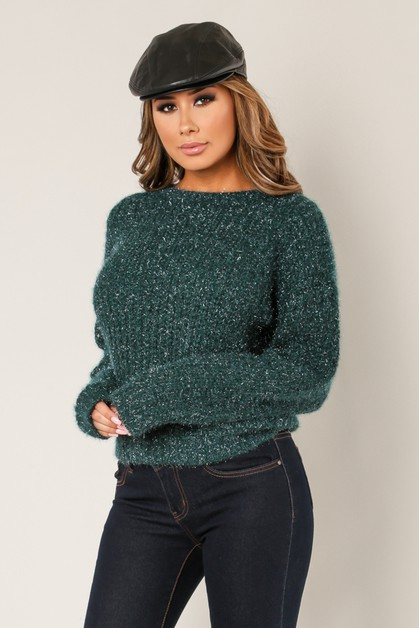 PULL OVER SWEATER WITH LUREX DETAIL - orangeshine.com
