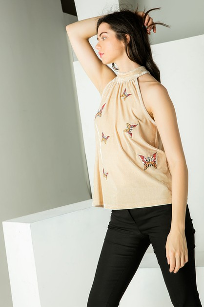 Halter Embroidered Velvet Top - orangeshine.com