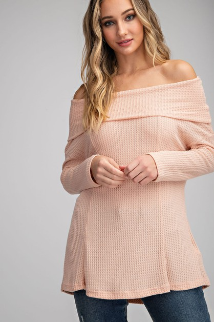 WAFFLE KNIT OFF THE SHOULDER TOP - orangeshine.com