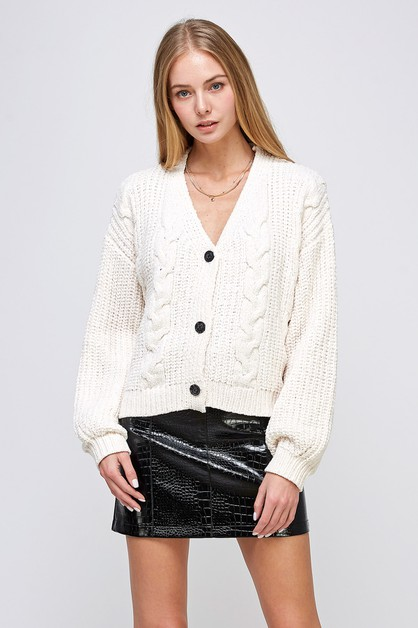 V-NECK CHUNKY KNIT SWEATER  - orangeshine.com