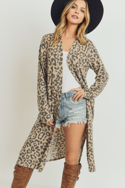Leopard Side Slit Cardigan - orangeshine.com