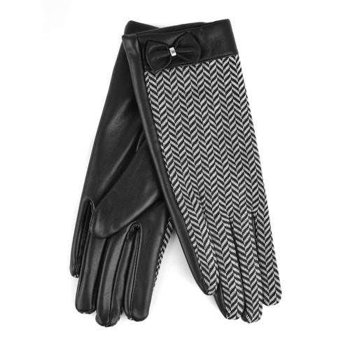 Women Chevron and PU Leather Gloves - orangeshine.com