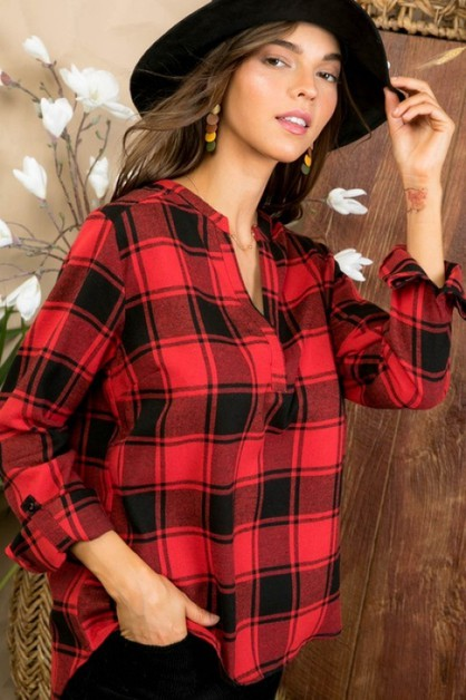 Long Roll Up Sleeve Red Plaid Top - orangeshine.com