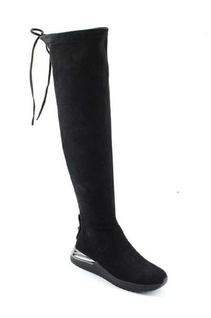 Wedges Slouchy Knee High Boots - orangeshine.com