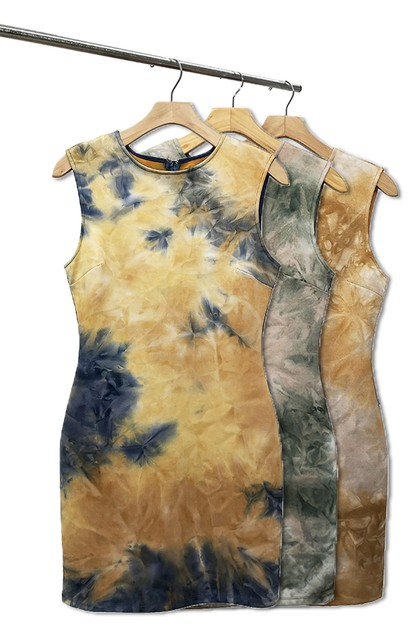 TIE DYED FAUX SUEDE  DRESS - orangeshine.com