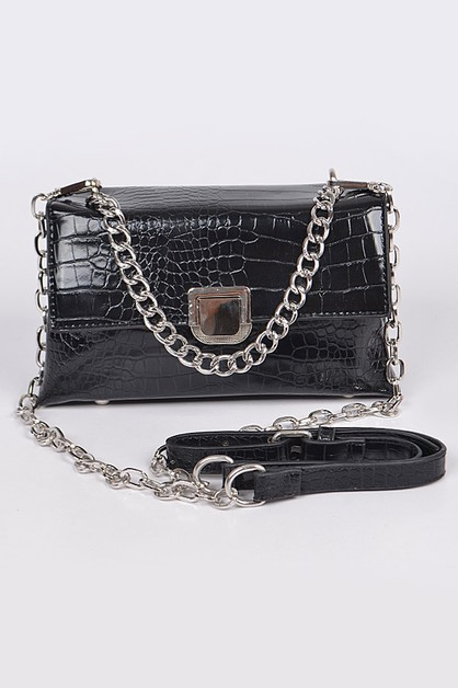 Snakeskin Crossbody Bag with Chain - orangeshine.com