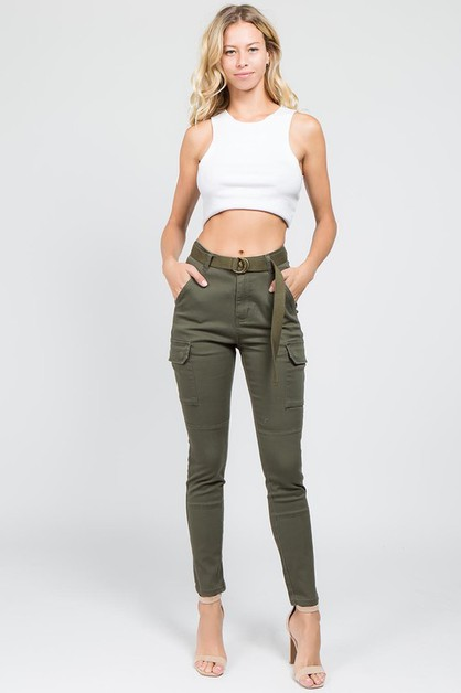 PLUS SIZE HIGH WAIST CARGO PANTS - orangeshine.com