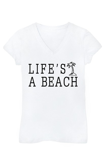 Lifes a Beach V Neck Top - orangeshine.com