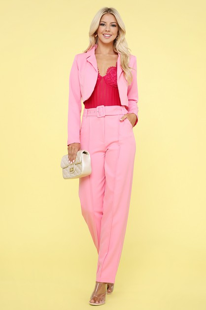 CROPPED BLAZER AND PANTS 2 PIECE SET - orangeshine.com