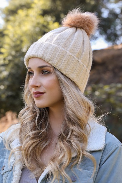 Soft Knit Fur Pom Beanie - orangeshine.com