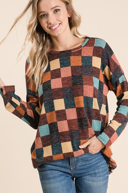 LOOSE FIT CHECKERED TUNIC - orangeshine.com