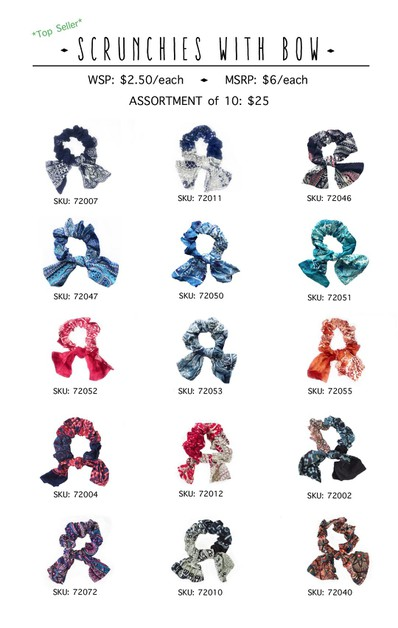 Cotton Scrunchies with bow- 10 pack - orangeshine.com
