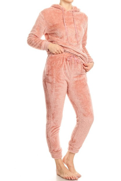 2 piece Fur Set Hoodie Joggers Pants - orangeshine.com