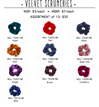 Velvet Scrunchies-10 pack - orangeshine.com