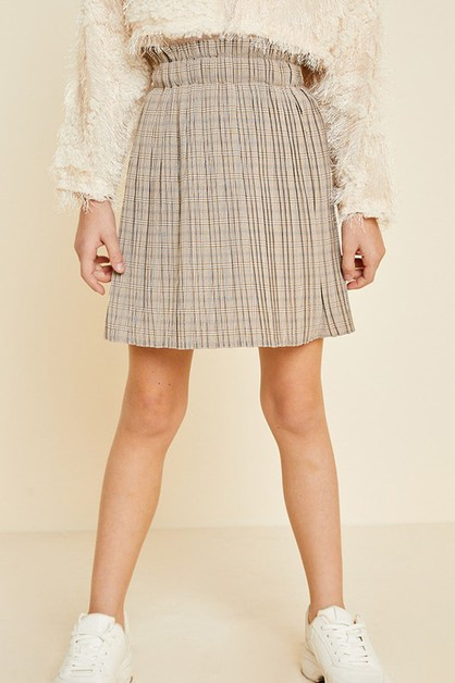 High-Rise Plaid Pleated Skirt - orangeshine.com