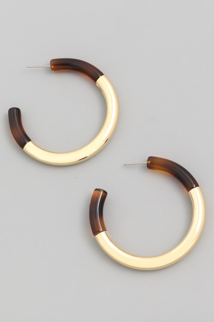 Acetate Metal Hoop Earrings - orangeshine.com