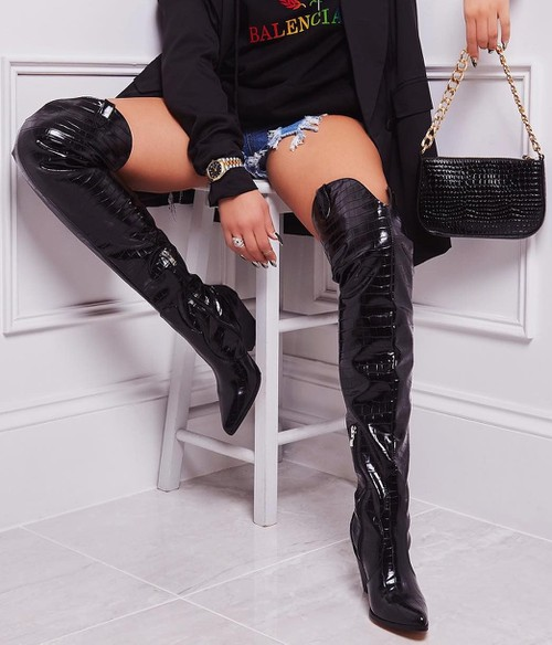 THIGH HIGH WESTERN LEATHER BOOTS - orangeshine.com