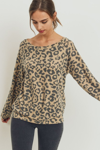 Brushed Animal Printed Raglan Top - orangeshine.com