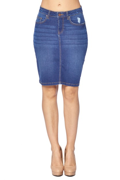 DENIM SKIRT RIPPED - orangeshine.com
