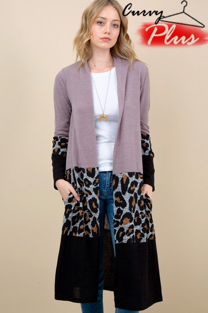 LEOPARD PRINT COLOR BLOCK LONG CARDI - orangeshine.com