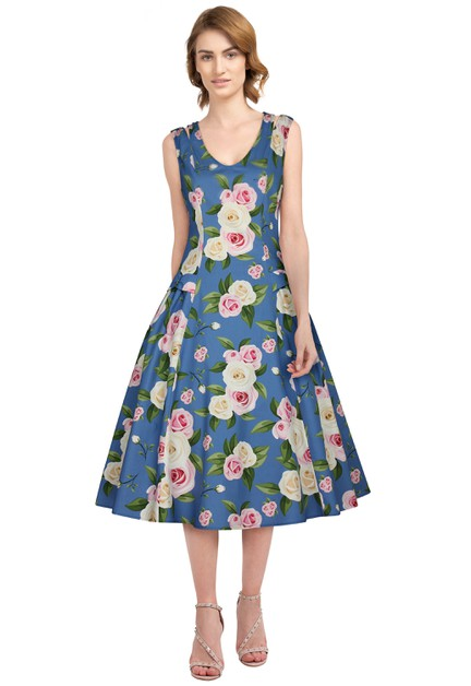 Plus Size Blue/Floral Retro Dress - orangeshine.com