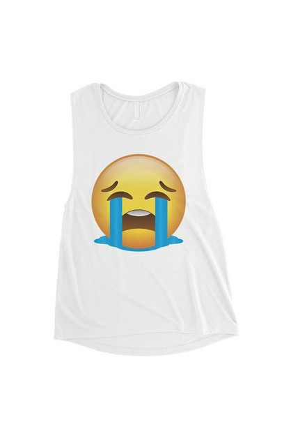 Emoji-Crying Muscle Top - orangeshine.com