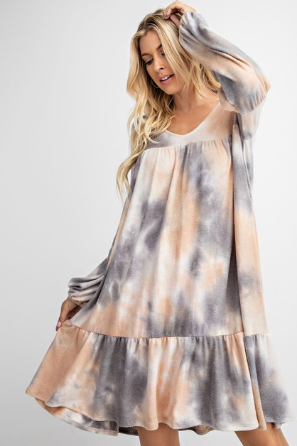 TIE DYE DRESS FEATURING BUBBLE SLEEV - orangeshine.com