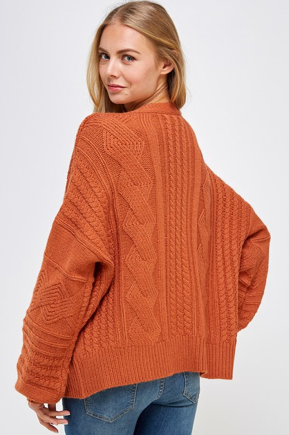 Solid Cable Knit Oversized Sweater - orangeshine.com