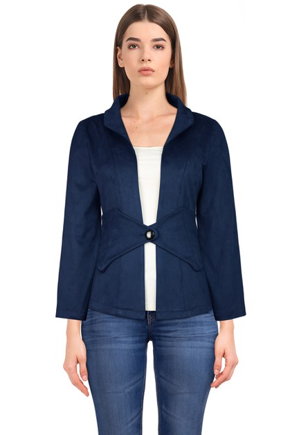 Plus Size Navy Suede Jacket - orangeshine.com