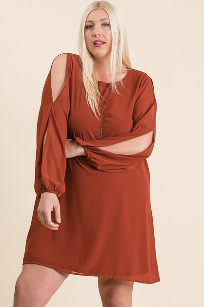 SLIT SLEEVES LOOSE FIT MINI DRESS - orangeshine.com