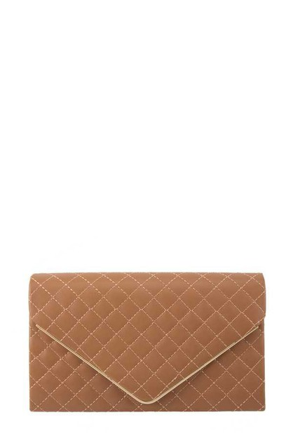 Quilted Envelop Shape Crossbody Bag - orangeshine.com