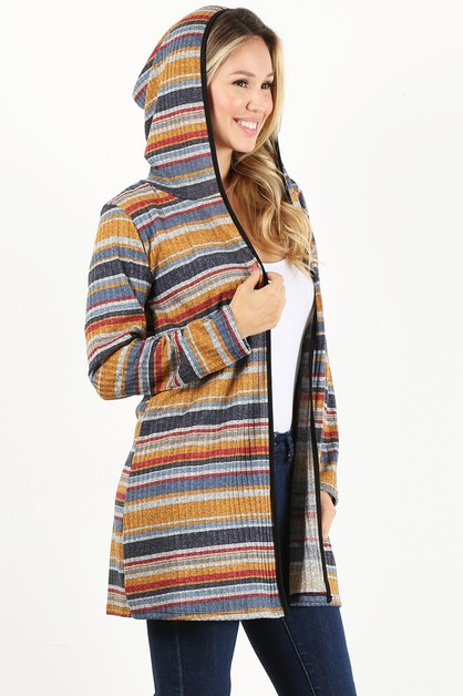 stripe loose fit cardigan hood - orangeshine.com